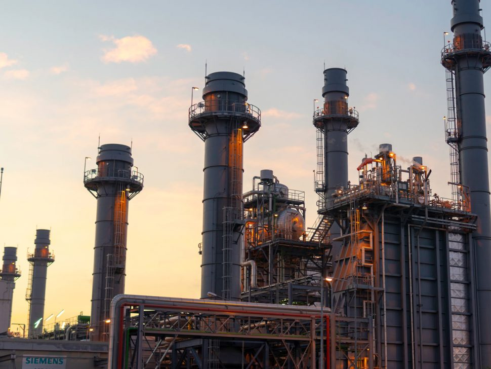 Outdoor oil and gas refinement centre